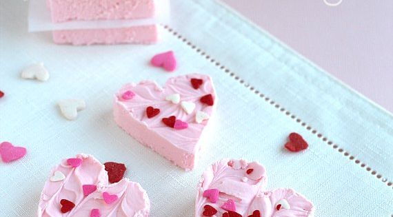 2 ingredient strawberry fudge- can of strawberry frosting and white chocolate chips!