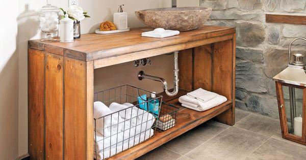 comment fabriquer un meuble lavabo en bois meuble lavabo pins blancs et meubles en bois. Black Bedroom Furniture Sets. Home Design Ideas