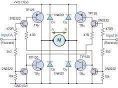 H Bridge Circuit Bidirectional Motor Control Circuit Electronic Schematics Electronic Engineering Electronics Circuit