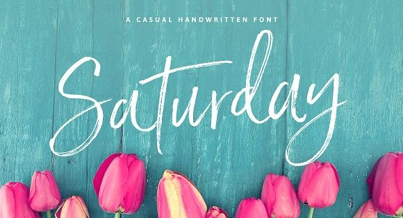 Saturday Script! A a care-free, handwritten script with authentic tell-tale dry brush imperfections.