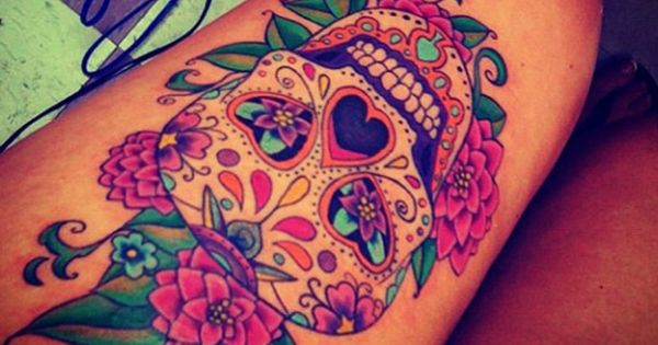 sugar skull tattoos, skull thigh tattoos and skull tattoos. tattoo tattoos ink