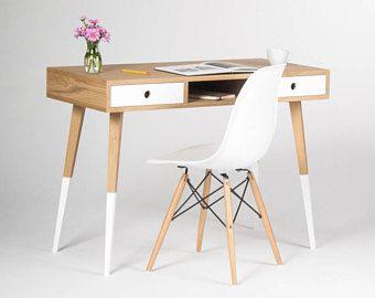 Desk Computer Desk Home Office Desk With White Drawers Dipped Legs Mid Century Modern Scandinavian Desig Hausburo Schreibtische Zimmer Gestalten Haus Deko