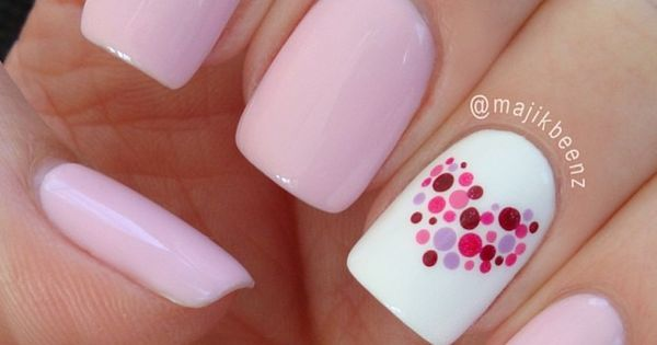Dotted heart nail design: pinks and white nail art: multicolor multicolour polka