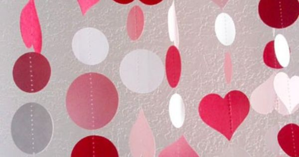 i love you garland set of two pink red white hearts and