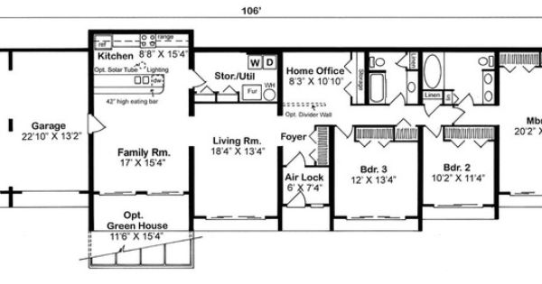 Earth sheltered s retro plan with 2139 sq ft 3 bedrooms for Berm house floor plans