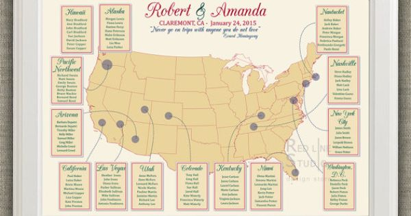 USA Map Wedding Seating Chart Destination