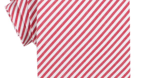 Red and White Chalk Stripe Cotton Necktie | Wedding Ties Ties Neckties | The Brothers at OTAA.COM