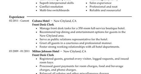 Hotel & Hospitality Sample Resumes