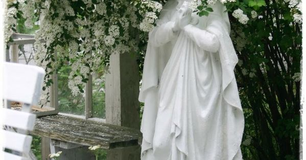 Blessed Mother Outdoor Statues Beautiful Blessed Mother Garden Statue Surrounded By Flowers