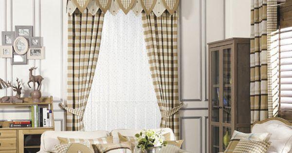 Farmhouse Living Room Decorating Ideas >> Brown Khaki Buffalo Gingham Check Plaid Curtain by HereIsTheShop | two story family room drapes
