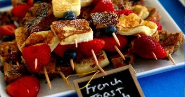 french toast kebab. breakfast for dinner party