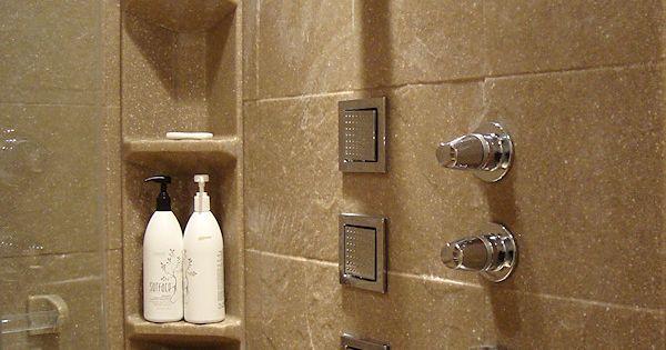 Slate Tile Shower Panels With Corner Caddy Onyx