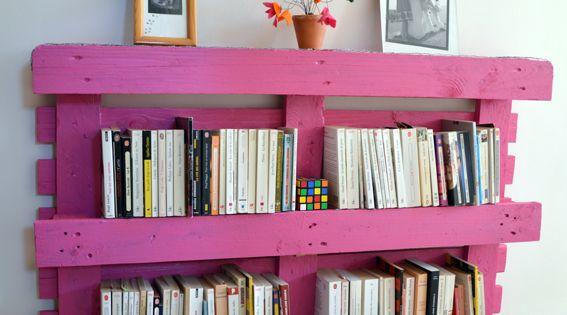 biblioth que partir d 39 une palette de r cup et de. Black Bedroom Furniture Sets. Home Design Ideas