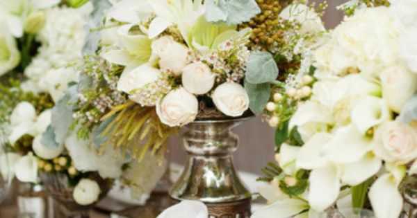 mercury glass, burlap, and white flowers.
