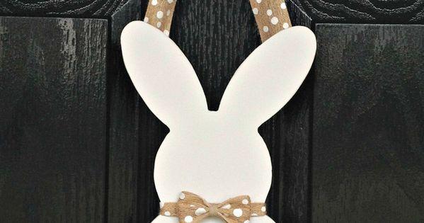 easter bunny silhouette wooden door hanger