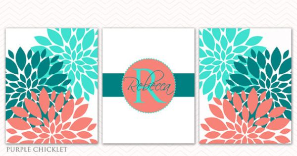 Coral Teal Aqua Wall Art Baby Name Initial Monogram Flower