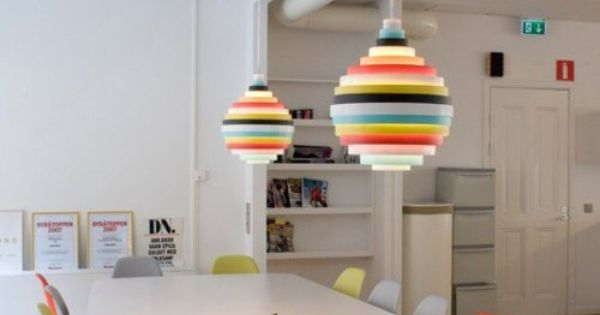 Zero PXL Pendant Lamp Multi paired with multi colored chairs