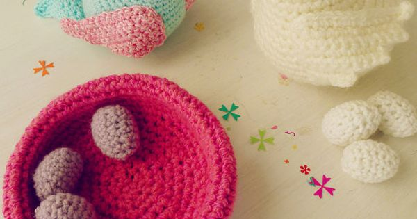 Crochet amigurumi birds nest and eggs pattern toy by bySol ...
