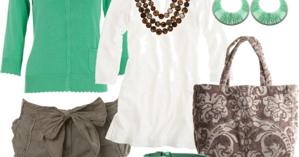 Green Cardi and Sandals with Bow Shorts.