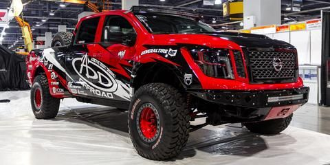 The Titan Warrior Concept Is Covered In A Custom Matte Gunmetal Paint Called Thunder And Accented With Special Magma Or Nissan Titan Nissan Titan Xd Nissan