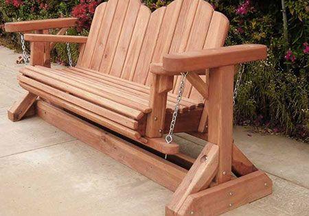 Garden glider plans redwood glider swing bench for Adirondack swing bench plans