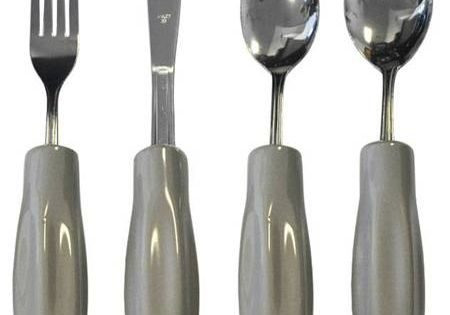 Weighted Eating Utensils With Contoured Handles For