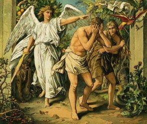 This is an image of Adam and Eve being cast out of the Garden of Eden. Curley's wife was supposed to be like Eve, as… | Adam and eve, Bible pictures, Garden