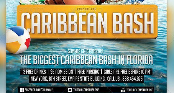 Caribbean Party Flyer Template | Caribbean party, Party ...