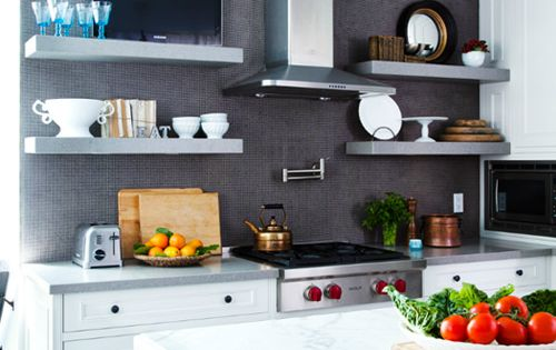 black, white, grey kitchen