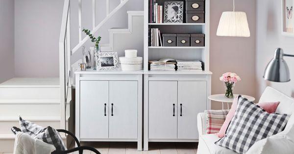 ein helles wohnzimmer mit brusali hochschrank mit t r in. Black Bedroom Furniture Sets. Home Design Ideas