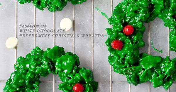 My favorite Christmas cookie as a kid: White Chocolate Peppermint Christmas Wreath