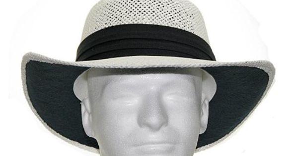 Gambler Vented Panama Dress Straw Golf Hat White Color