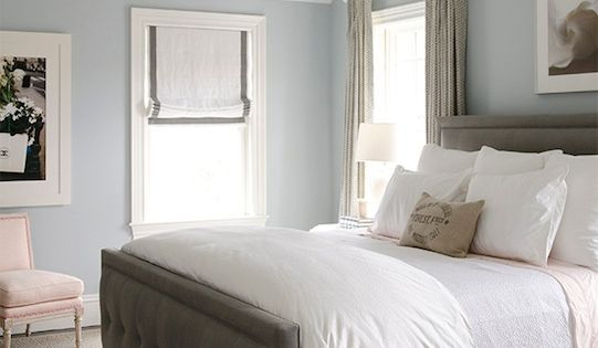 Wall Color *** Gorgeous bedroom with blue walls paint color, gray linen