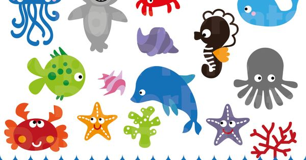 16 Baby Sea Animals Sea Animals Patterns Sea Animals Etsy In 2021 Animal Clipart Sea Animals Baby Clip Art