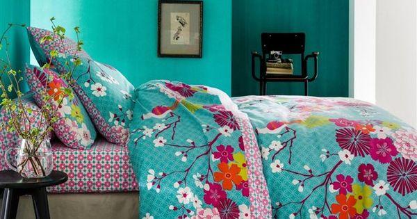 Housse de couette miss china bleue turquoise bedrooms for Housse de couette bleue