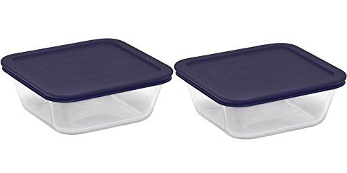 Pyrex Square Glass Food Storage Containers Set With Dark Blue Plastic Cover Use For Stora Glass Food Storage Containers Food Storage Container Set Food Storage