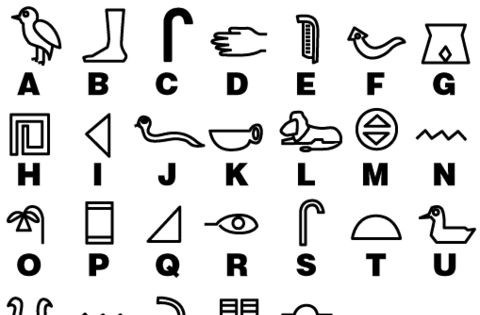 Ancient Egypt Hieroglyphics - pretty sure they wouldn't exactly have an A-Z,