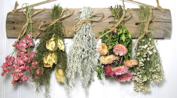 Dried Flower Rack, Dried Floral Arrangement, Wall Decor, Dried Flowers, Country, Drying