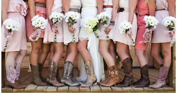 Country Wedding Dresses with Cowboy Boots | Bridesmaids and cowgirl boots