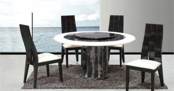 Apulia Black White Round Marble Table With Lazy Susan Round