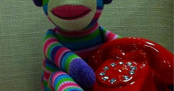 Pier 1 Rainbow Sock Monkey Waits Patiently For Someone To