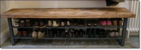 Reclaimed Oak Bench With Custom Steel Shoe Rack From Simpson