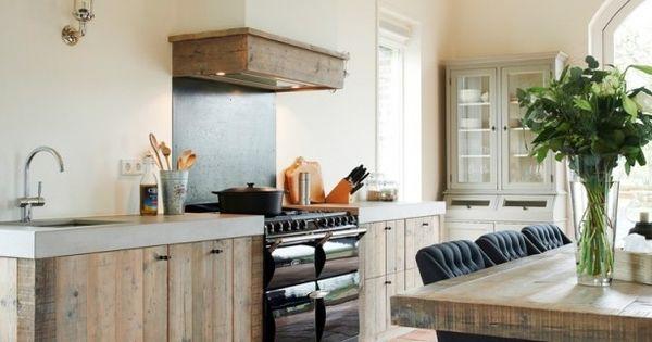 Modern landelijke keuken van restylexl keuken pinterest rustic kitchen kitchens and modern - Deco keuken kleur ...