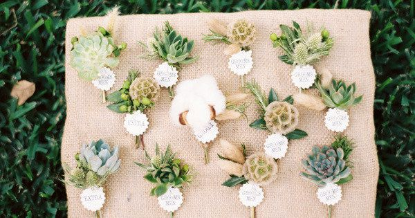 {Succulents & Scabiosa Pod Boutonnieres / Photography by ryanrayphoto.com, Floral Design by