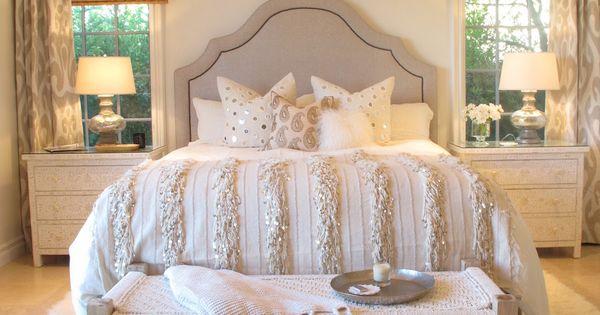 Shag rug, headboard, comforter & curtains. Neutral bedroom