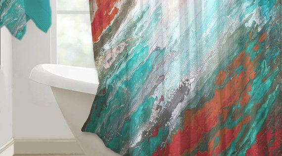 Abstract shower curtain art. Gray, aqua, teal, and coral ...