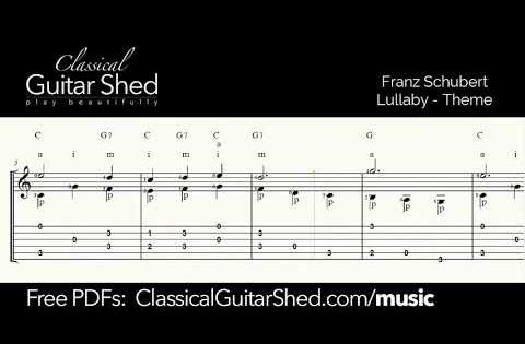 542 Schubert Lullaby Free Sheet Music And Tabs For Classical Guitar Youtube Guitar Lessons Fingerpicking Classical Guitar Sheet Music Classical Guitar
