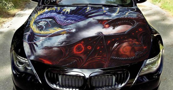Hood Wrap Full Color Print Vinyl Decal Fit Any Car Dragon 164 Car Bling Car Accessories Car Decals