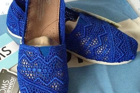 Toms Classics Crochet Royal Blue Shoes for Women