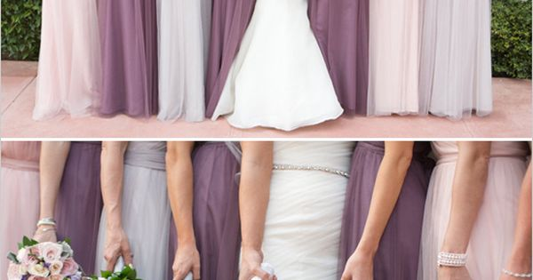 Elegant floor length bridesmaid dresses in purple and pink. wedding chicks